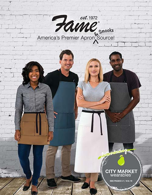 This catalog features the following types of uniforms:  Aprons, Smocks, Vests, Chef Apparel, Women's Chef Apparel, Lab Coats, Coolerz, Mask & Face Shields