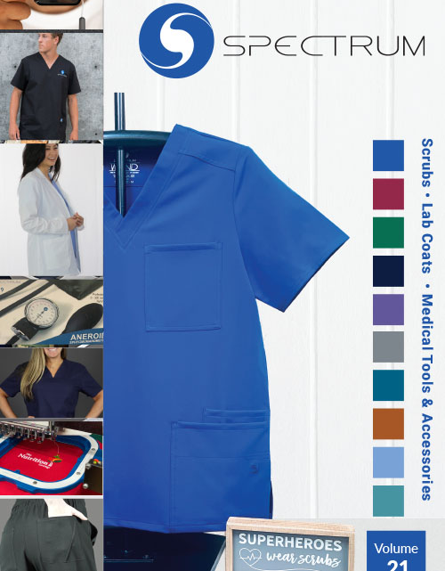This catalog features the following types of uniforms:  COVID-19 Antimicrobial Lab Coats, COVID-19 Antimicrobial Scrubs, Face Masks, Safety Glasses, Thermometers, Scrub Tops, Scrub Pants, Lab Coats, Scrub Jackets, Scrub Caps, Stethoscopes, First-Aid & Safety, Bags, & Organizers